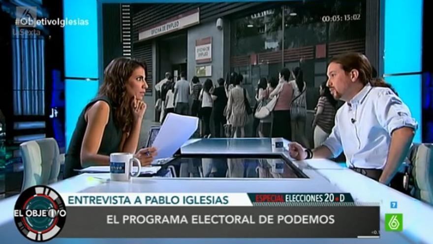 Pablo Iglesias, con Ana Pastor en El Objetivo