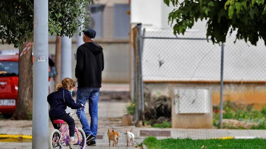 Un hombre pasea con una niña y dos perros.