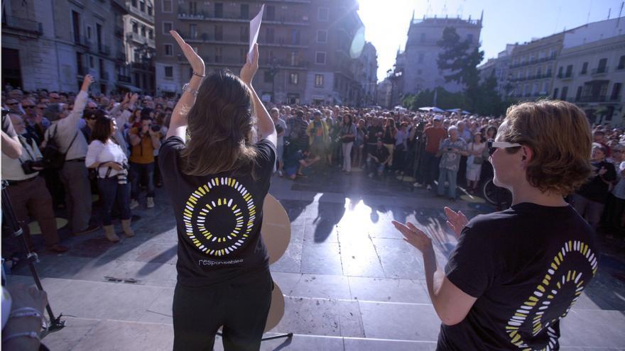 Una de las concentraciones celebradas en la plaza de la Virgen de Valencia convocada por la AVM3J