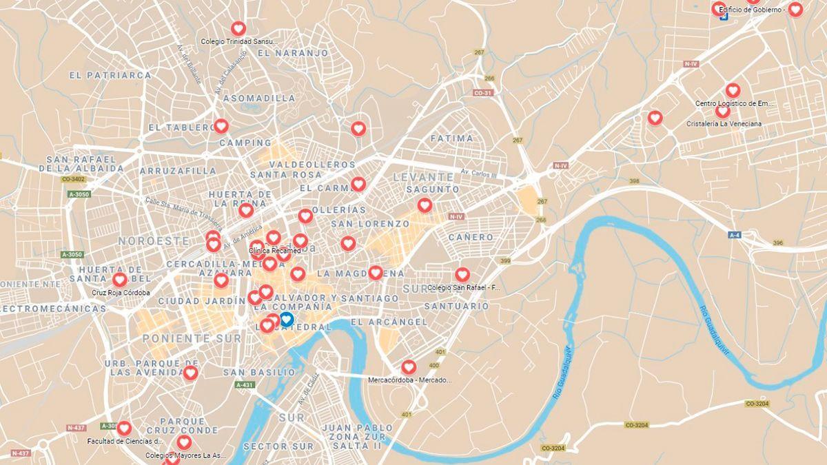 Mapa de la capital cordobesa con las zonas cardioaseguradas.