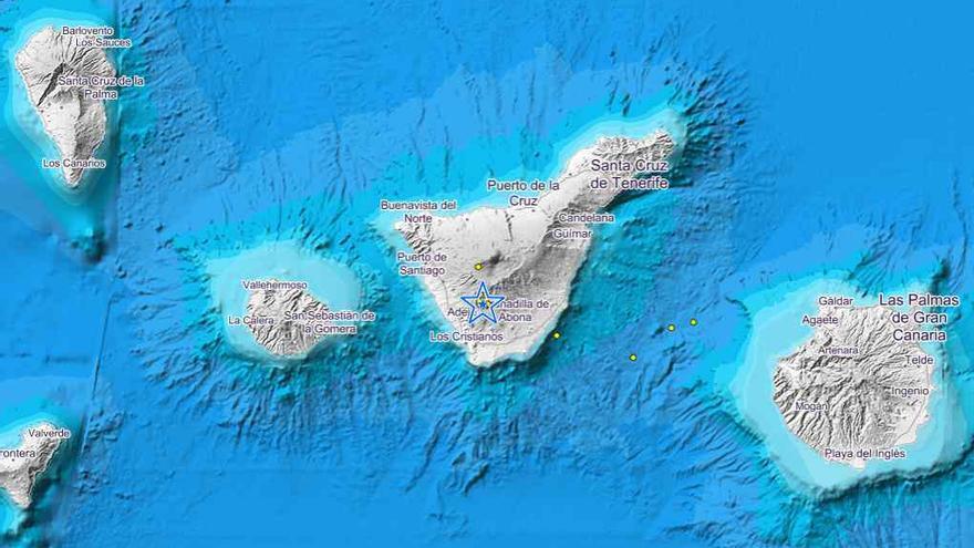 Gráfico del IGN con los temblores registrados en el sur de Tenerife en las últimas horas