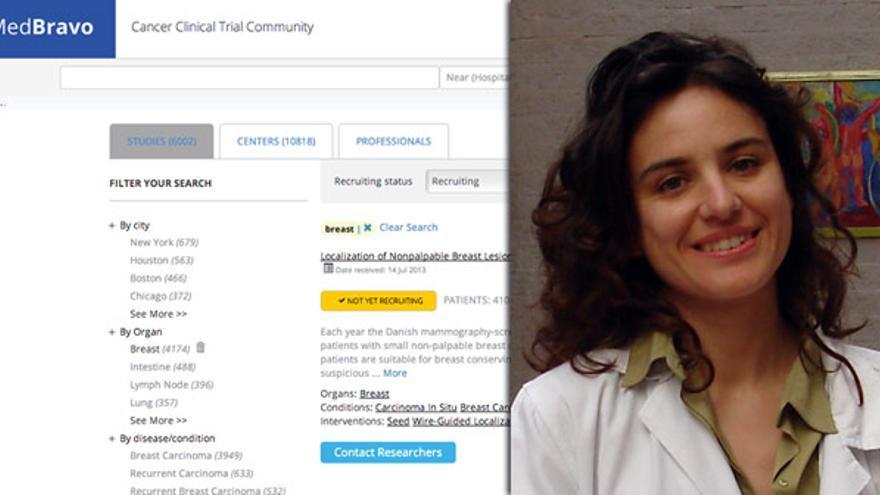 La oncóloga e ingeniera informática Aurelia Bustos, junto a un pantallazo de MedBravo, la herramienta que ha creado