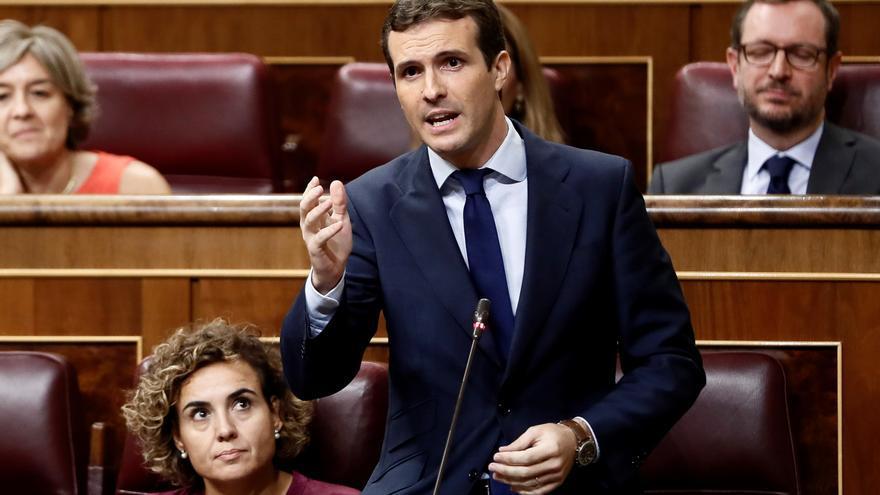 El líder del PP, Pablo Casado, en la sesión del control al Gobierno