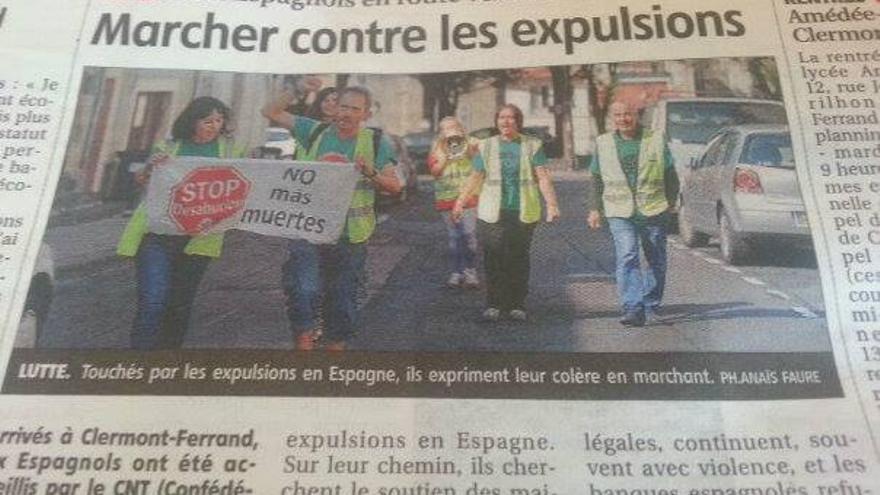 La prensa francesa dedica informaciones a los integrantes de la marcha contra los desahucios/ Foto: CR