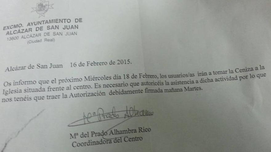 Carta de imposición de la ceniza de cuaresma a discapacitados de Alcázar de San Juan (Ciudad Real)