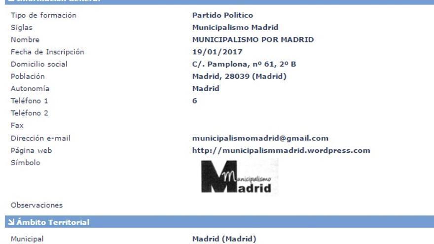 Nota del registro de Municipalismo Por Madrid en la web del Ministerio del Interior.