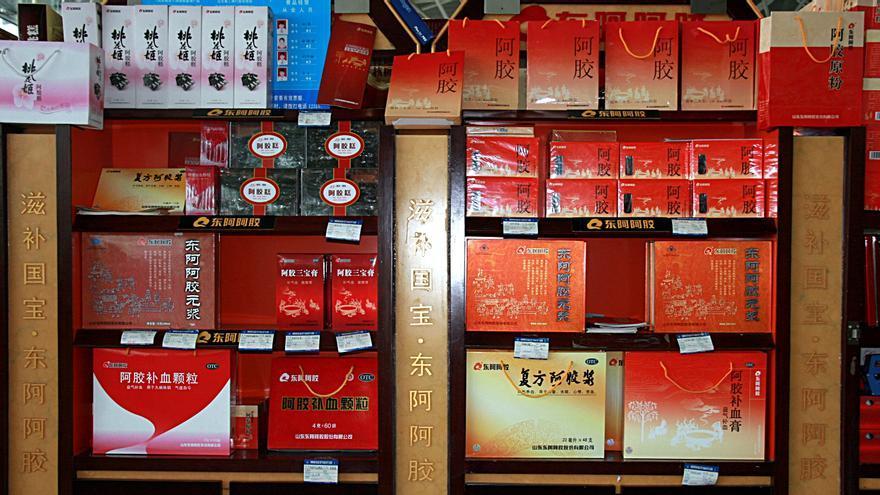 Ejiao en venta en un aeropuerto de China