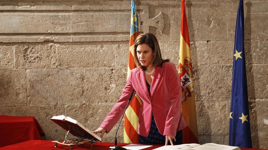 Paula Sánchez de León en la toma de posesión como Delegada del Gobierno