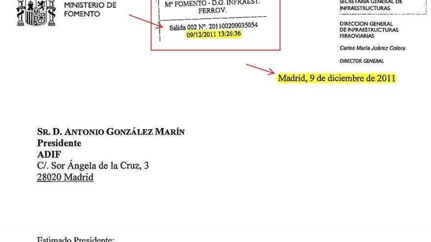 Autorización de Fomento a Adif de puesta en servicio del AVE Ourense-Santiago emitida el 9 de decembro de 2012 a las 13:26 horas