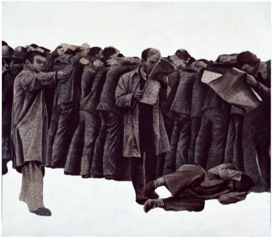 Los Manifestantes, obra de Genovés y parte de la muestra temporal y de la colección permanente del MAC