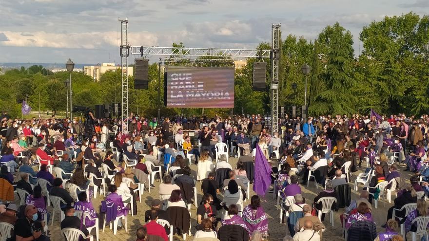 El candidato de Unidas Podemos a la Presidencia de la Comunidad de Madrid, Pablo Iglesias, en el mitin del cierre de campaña del 4M en Vicálvaro
