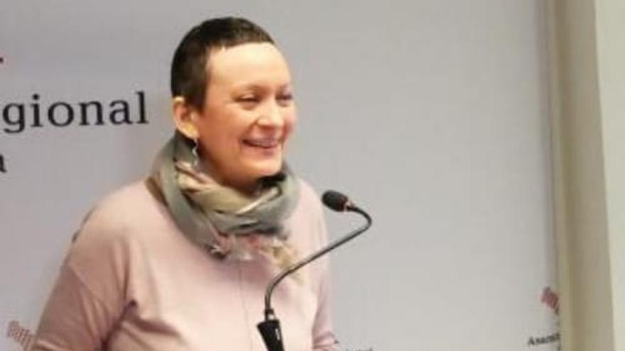 La portavoz de Podemos, María Marín, en la Asamblea Regional