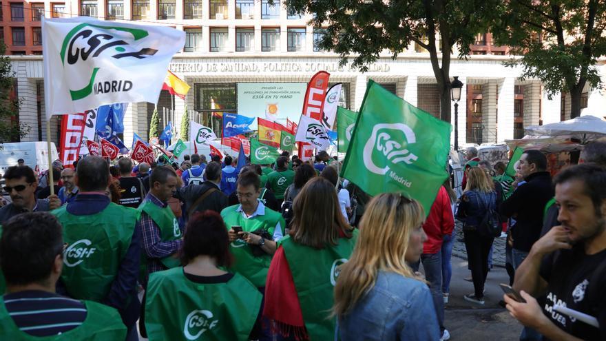 Imagen de archivo de una protesta de funcionarios