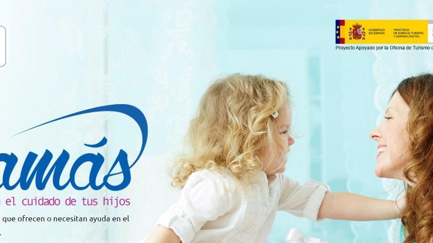 Imagen de la página web de Mom2Mom con el sello del Ministerio.