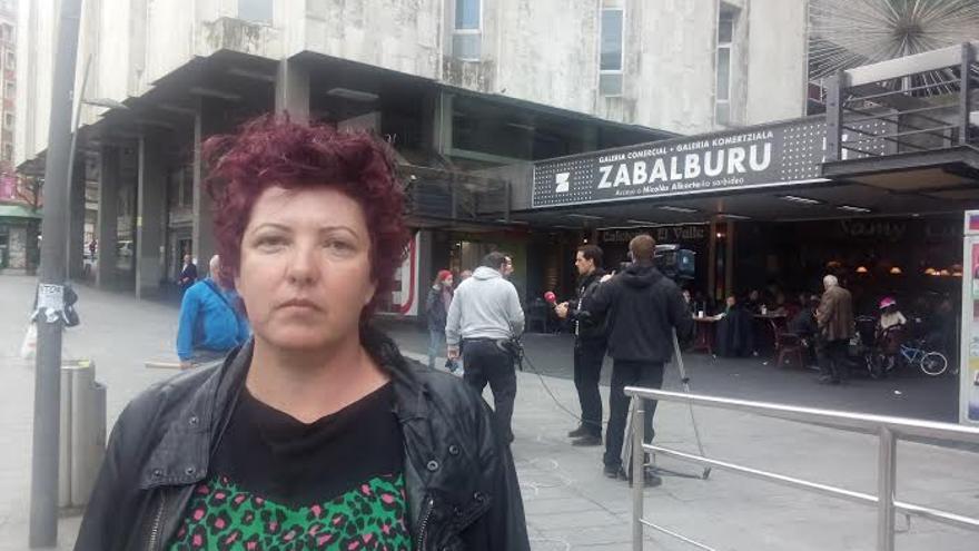 May Serrano tras la 'performance' contra la violencia machista desarrollada en Bilbao.