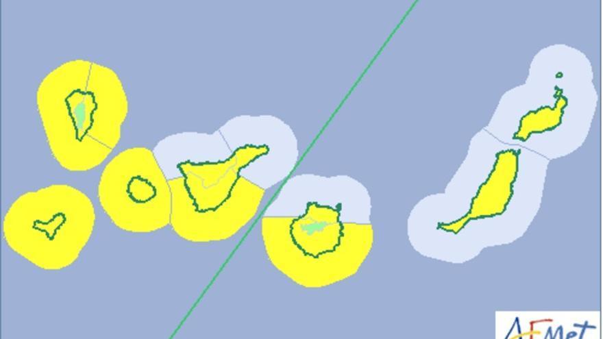 Mapa de la Aemet de riesgo por viento y fenómeno costero para este domingo y lunes.