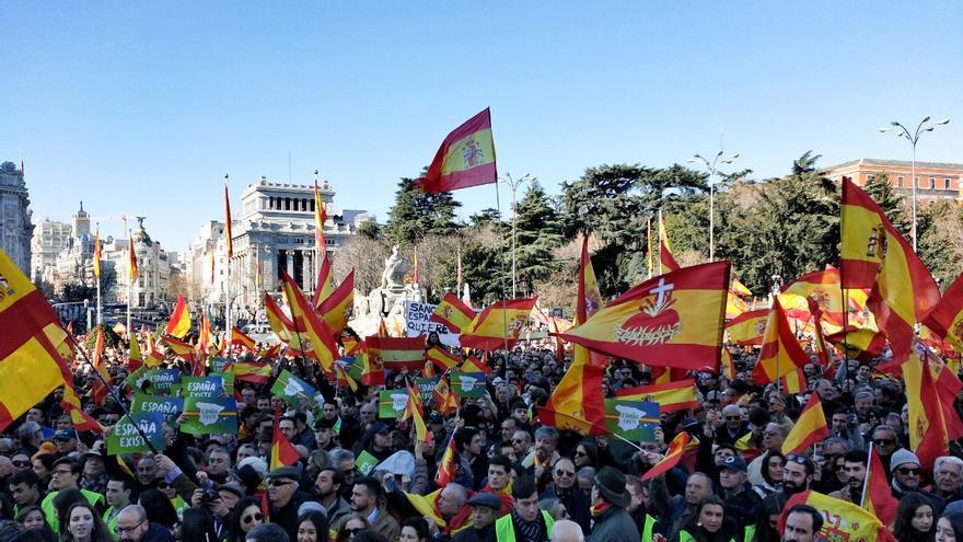 """Concentración de Vox en Madrid para """"defender la integridad de España frente al Gobierno de Pedro Sánchez"""""""