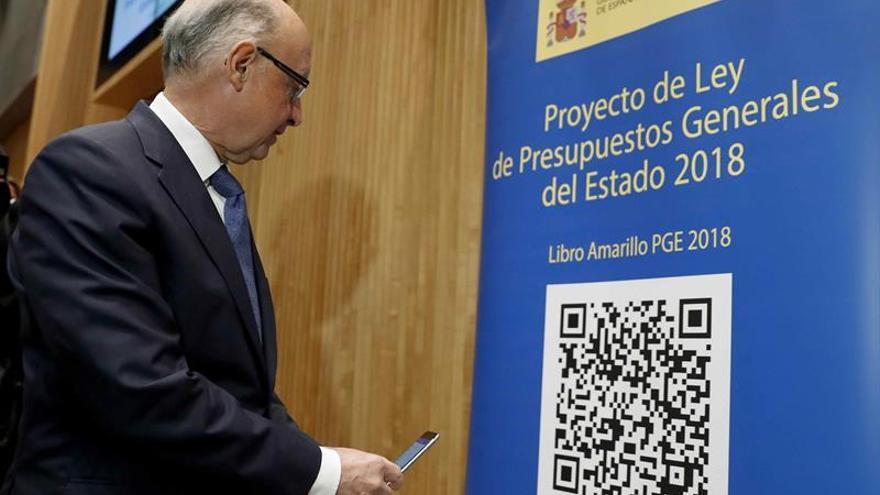 Cristóbal Montoro, ministro de Hacienda, durante la presentación de los Presupuestos.