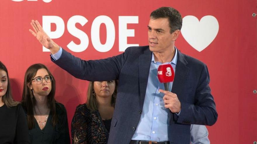 Pedro Sánchez en un mitin en Jaén este martes.