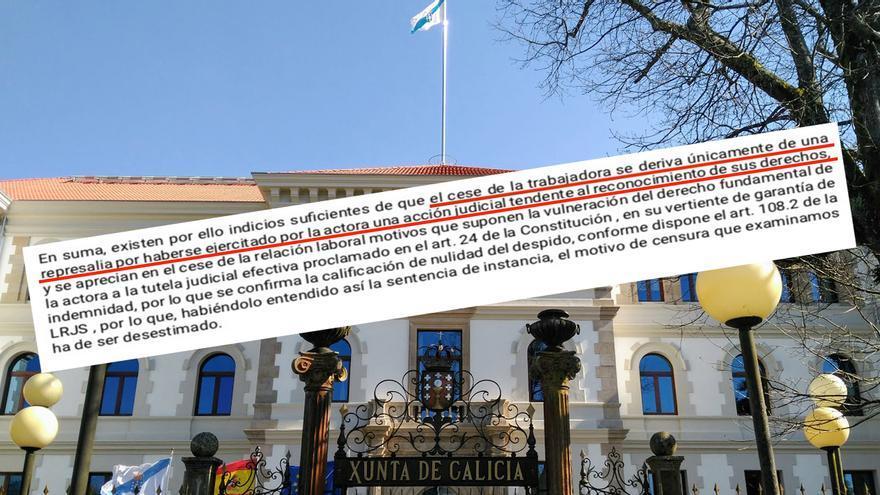 Fragmento de la sentencia que condena a la Xunta por despedir a una interina como represalia por reclamar una mejora salarial