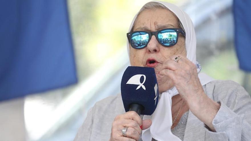 En la imagen, la titular de la Asociación Madres de Plaza de Mayo, Hebe de Bonafini.