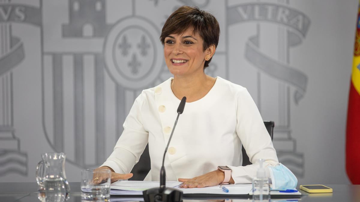La ministra portavoz, Isabel Rodríguez, durante la rueda de prensa posterior a la reunión del Consejo de Ministros