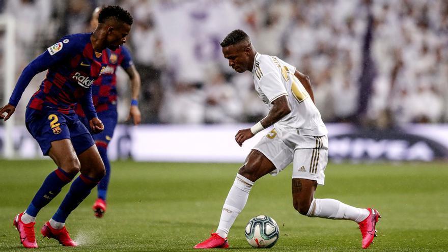 Semedo y Vinicius, en el Real Madrid-Barcelona