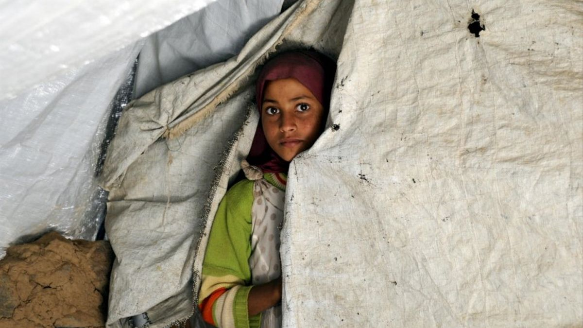 Niña yemení, en un refugio