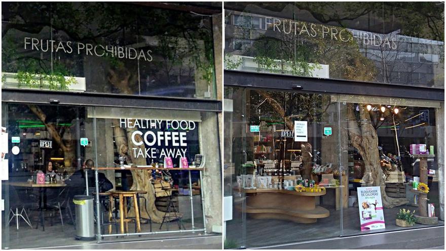 A la izquierda, el herbolario-café de Gymage el 18 de febrero y a la derecha, el herbolario el 20 de febrero, sin restos de cafetería | SOMOS MALASAÑA