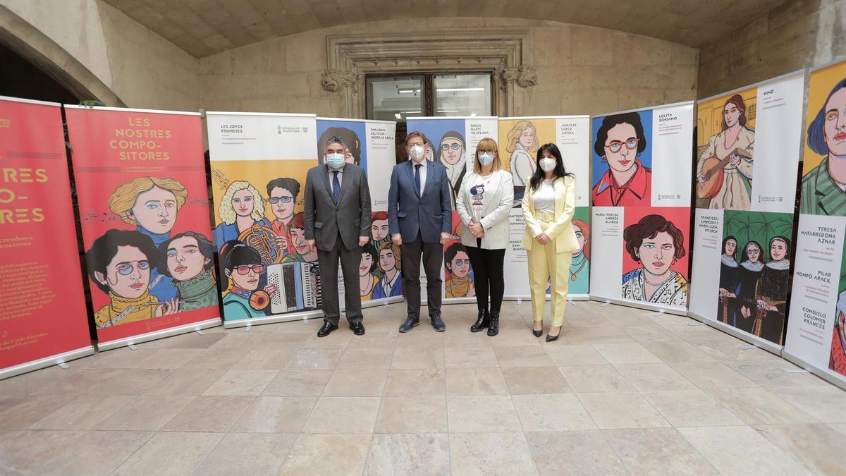 Reunión del ministro de Cultura, José Manuel Rodríguez Uribes, el president de la Generalitat, Ximo Puig, y la FSMCV.