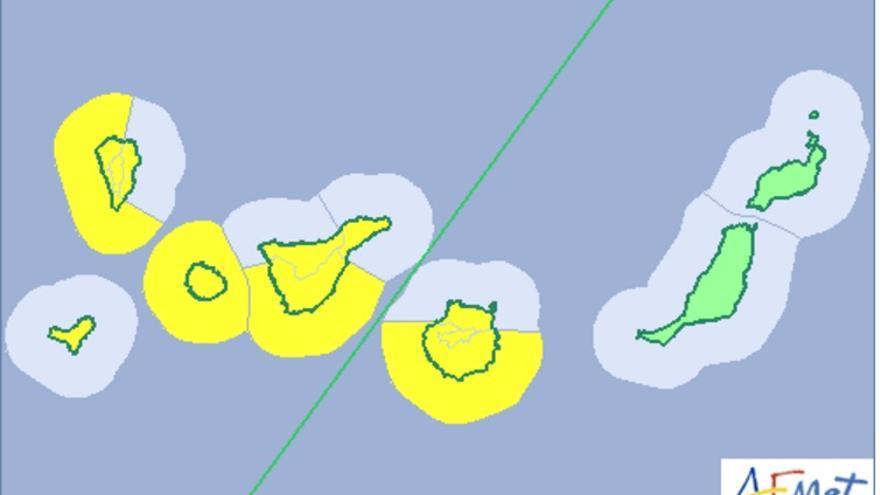 Mapa de riesgo por viento y oleaje para este jueves, vienes y sábado de la Aemet.