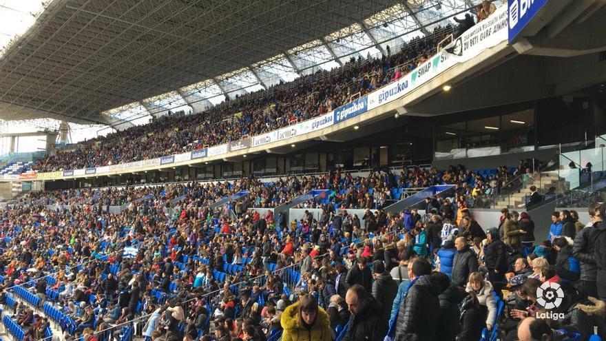 Imagen de una de las gradas del estadio de Anoeta durante el partido entre la Real y el Athletic