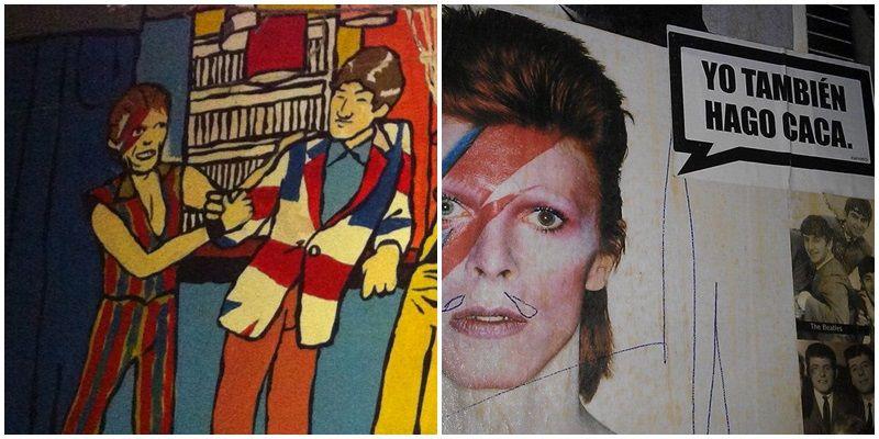 David Bowie, retratado en el Tupperware (izda) y en los baños del Angie (dcha)