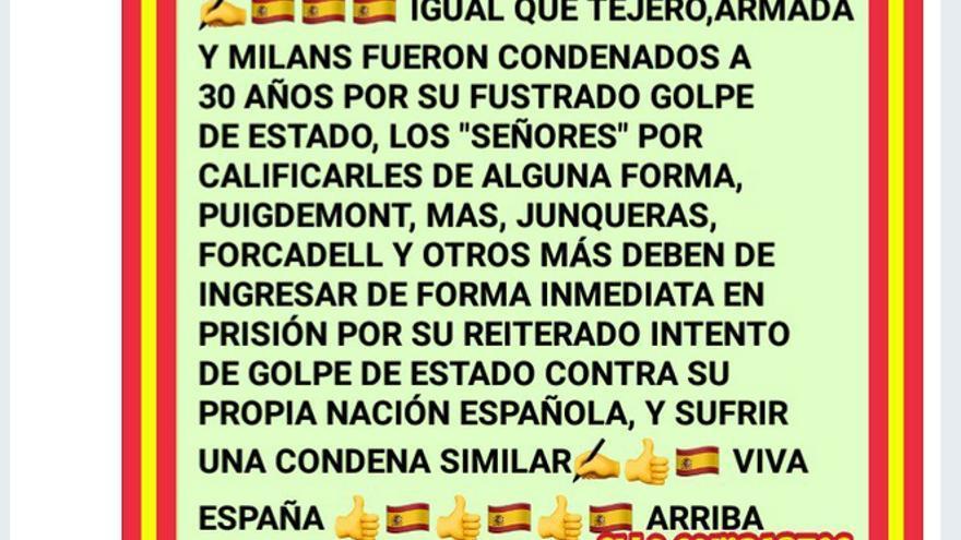 #ArrancaLaBasuraSeparatista, escribía Ana Gil Román.