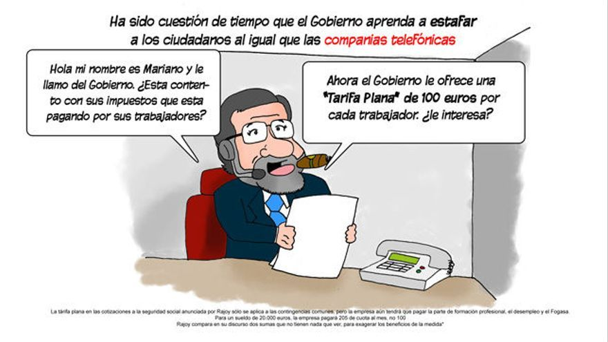 La tarifa plana de Rajoy. / Viñeta de Álvaro Martín Martín publicada el 7/3/2014