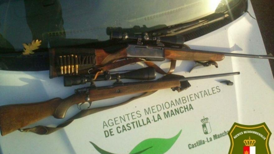 Rifles incautados a furtivos / Foto: Agentes Medioambientales de Castilla-La Mancha