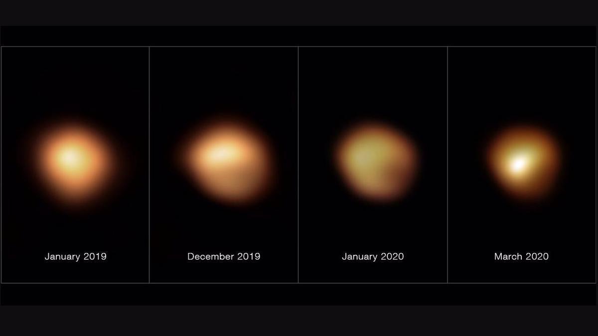 Estas imágenes, tomadas con el instrumento SPHERE, instalado en el Very Large Telescope de ESO, muestran la superficie de la estrella supergigante roja Betelgeuse durante una atenuación sin precedentes que tuvo lugar a finales de 2019 y principios de 2020