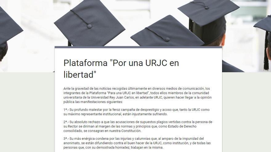 Captura de la campaña en favor del rector de la URJC Fernando Suárez