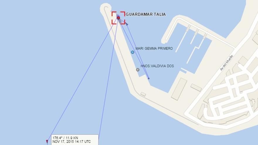 La embarcación Guardamar Talía sale del Puerto de Arguineguín de las Palmas de Gran Canaria. Coordenadas recogidas por el AIS.