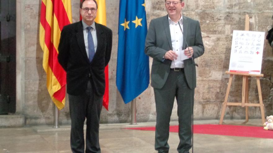 El presidente Ximo Puig y el conseller Vicent Soler comparecen ante los periodistas.