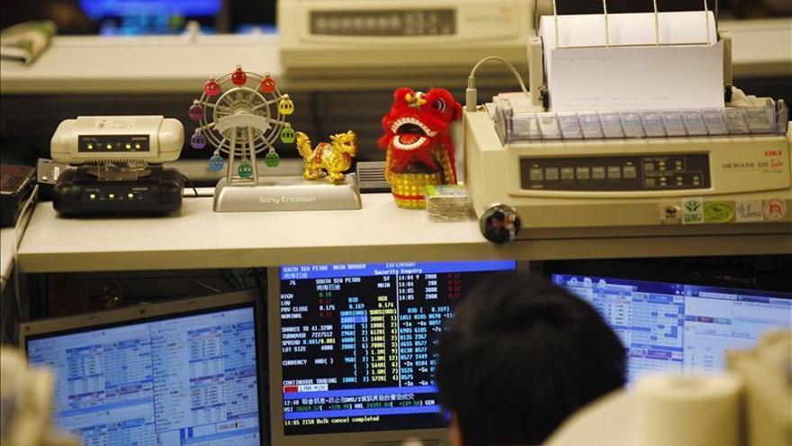 El índice Hang Seng baja 133,05 puntos, el 0,57 por ciento, a media sesión