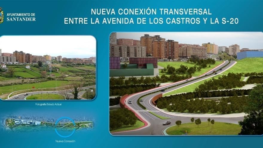 La conexión transversal de la S-20 con la avenida de Los Castros se abre al tráfico este martes