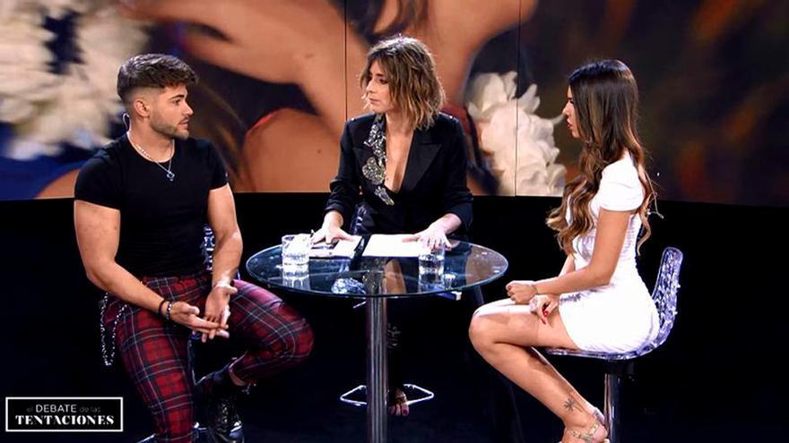 Ismael, Sandra Barneda y Andrea, en 'El debate de las tentaciones'