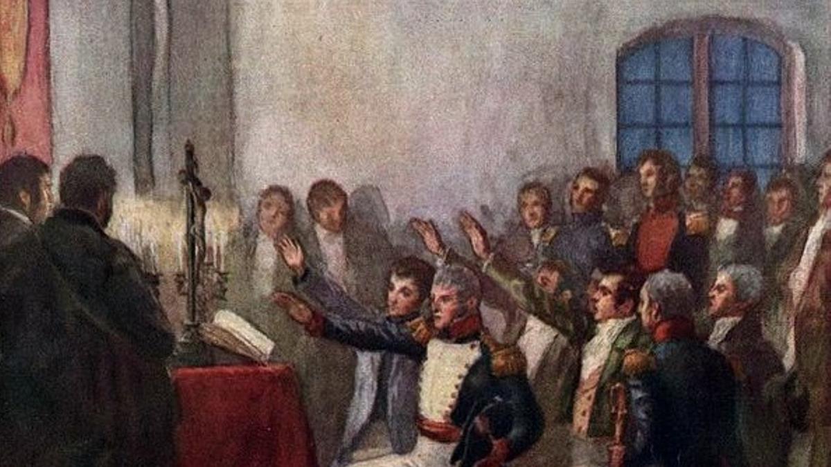 'Juramento de la Primera Junta Gubernativa Argentina (25 de mayo de 1810)', de Pedro Subercaseaux (1910)