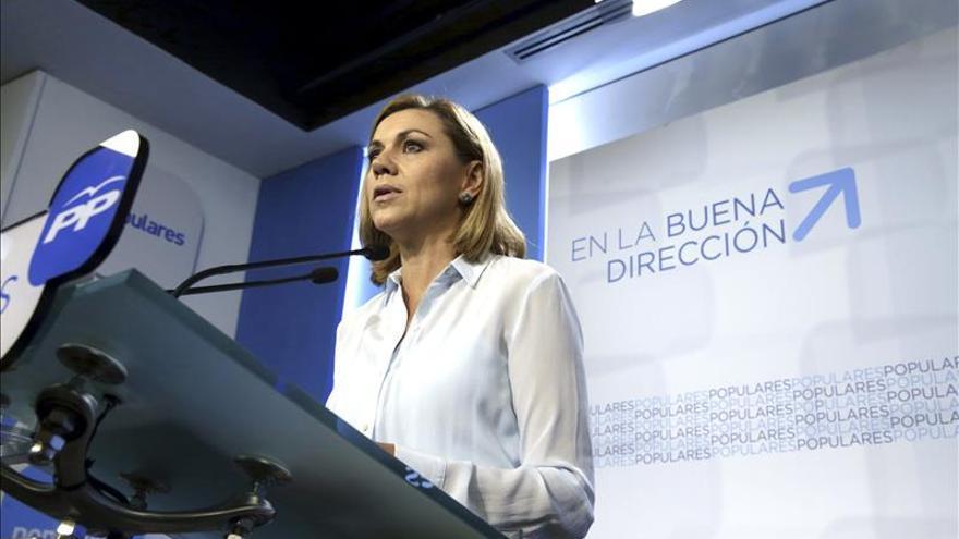 """Cospedal descarta cambios en el PP, que ha sido """"contundente"""" ante la corrupción"""