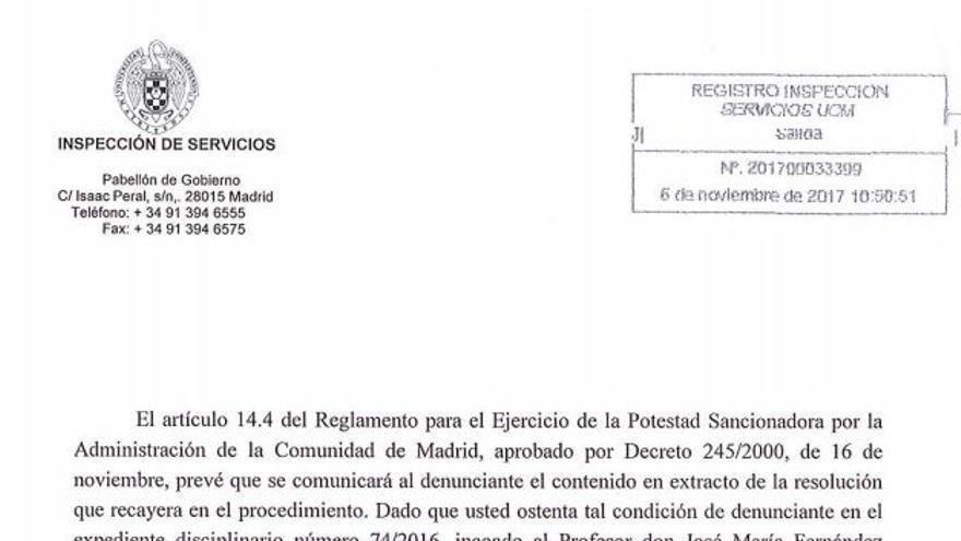 Resolución de la inspección de servicios de la Universidad Complutense de Madrid.