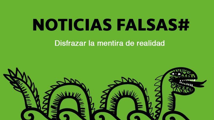 Cartel del debate sobre fake news organizado en 2017 por la Plataforma en Defensa de la Libertad de Información (PDLI). Creatividad: Prodigioso Volcán.
