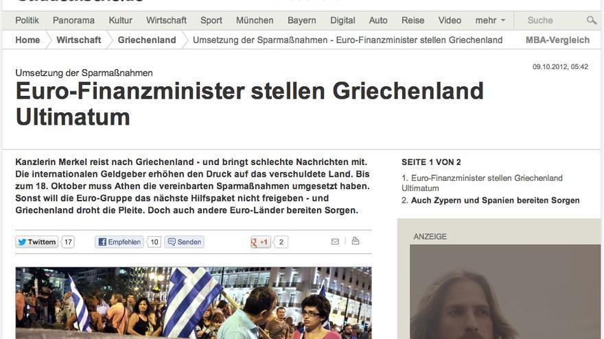 Süddeutsche Zeitung y la visita de la canciller Merkel a Grecia.