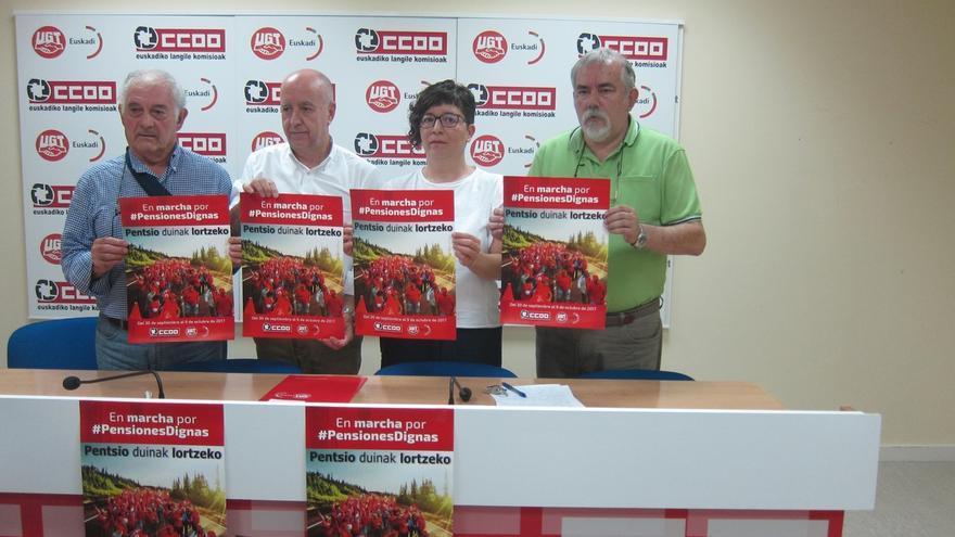 CCOO y UGT Euskadi organizan este domingo una marcha entre Portugalete y Bilbao en defensa de unas pensiones dignas