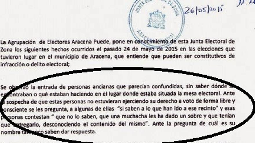Parte de la denuncia presentada por Aracena Podemos ante la Junta Electoral. (AracenaNoticias)